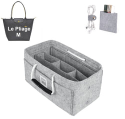 LONGCHAMPS LE PLIAGE M Organizer GIFTS INCLUDED : Cable Holders+Lipstick Holders / Mini Wallet[Cement Gray]