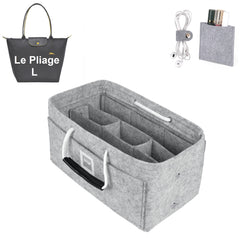 LONGCHAMPS LE PLIAGE L Organizer GIFTS INCLUDED : Cable Holders+Lipstick Holders / Mini Wallet[Cement Gray]
