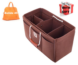 Hermès Bolide 45 Organizer GIFTS INCLUDED : Cable Holders+Lipstick Holders / Mini Wallet[Chocolat Brown]