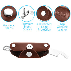 Smart Key Holder Organizer | Key Chains for Men and Women | Real Leather [Brown]