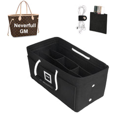 LV NEVERFULL GM Organizer GIFTS INCLUDED : Cable Holders+Lipstick Holders / Mini Wallet[Charcoal Black]