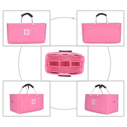 Hermès Maxibox Cabas 30 Organizer GIFTS INCLUDED : Cable Holders+Lipstick Holders / Mini Wallet[Bubblegum Pink]
