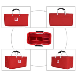 Hermès Maxibox Cabas 30 Organizer GIFTS INCLUDED : Cable Holders+Lipstick Holders / Mini Wallet[Sexy Red]