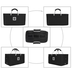 Hermès Maxibox Cabas 36 Organizer GIFTS INCLUDED : Cable Holders+Lipstick Holders / Mini Wallet[Charcoal Black]