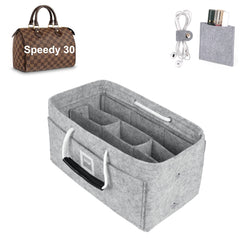 LV SPEEDY 30 Organizer GIFTS INCLUDED : Cable Holders+Lipstick Holders / Mini Wallet[Cement Gray]