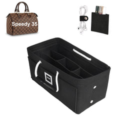 LV SPEEDY 35 Organizer GIFTS INCLUDED : Cable Holders+Lipstick Holders / Mini Wallet[Charcoal Black]