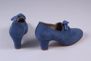 VEGAN - 1940'er vintage style pumps med snøre - Blå - Esther