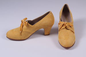 VEGAN - 1940'er vintage style pumps med snøre - Gul - Esther