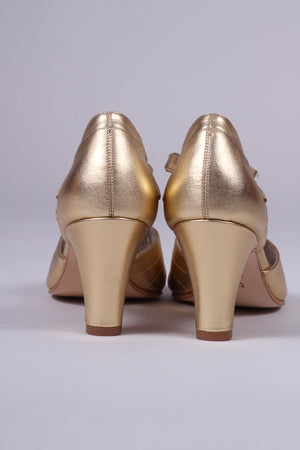 30'er vintage style Spanish medium high heel sko - Guld