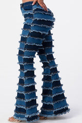Flare Shredded Patchwork Denim