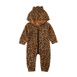 Leopard Teddy Hooded Jumpsuit
