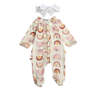 Long Sleeve Rainbow Footies Jumpsuit