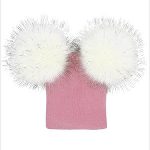 Double Pompom Fur Beanie Winter Hat