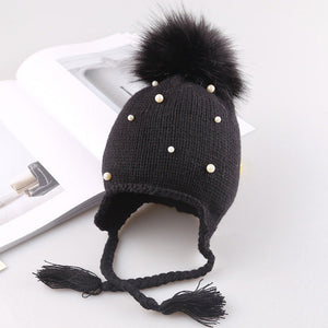 Pompom and Pearls Knit Earbud Hat (3 colors)