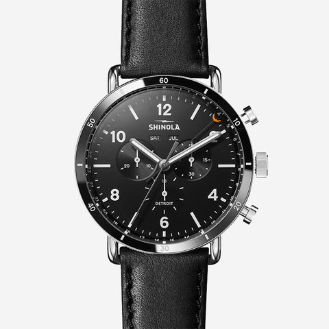 Shinola The Canfield Sport Chronograph 45mm Men's Black Watch Black Leather Strap