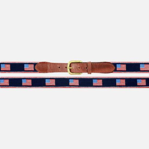 Smathers & Branson American Flag Stripe Needlepoint Belt - Navy