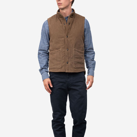 Save Khaki United Sherpa Lined Corduroy Vest Tobacco