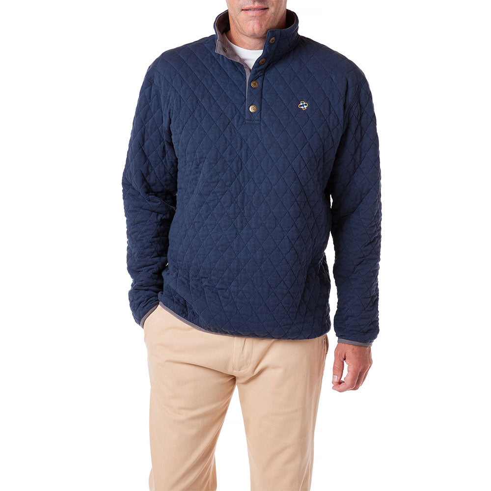 Castaway Cross Rip Quilted Sweatshirt Nantucket Navy