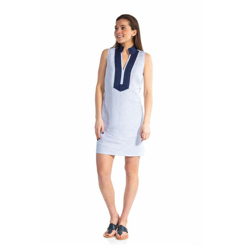 Sail to Sable Stripe Linen Sleeveless Classic Tunic Dress Blue White Stripe