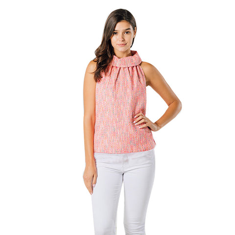 Sail to Sable Cowl Neck Top with Tassel Neon Tweed