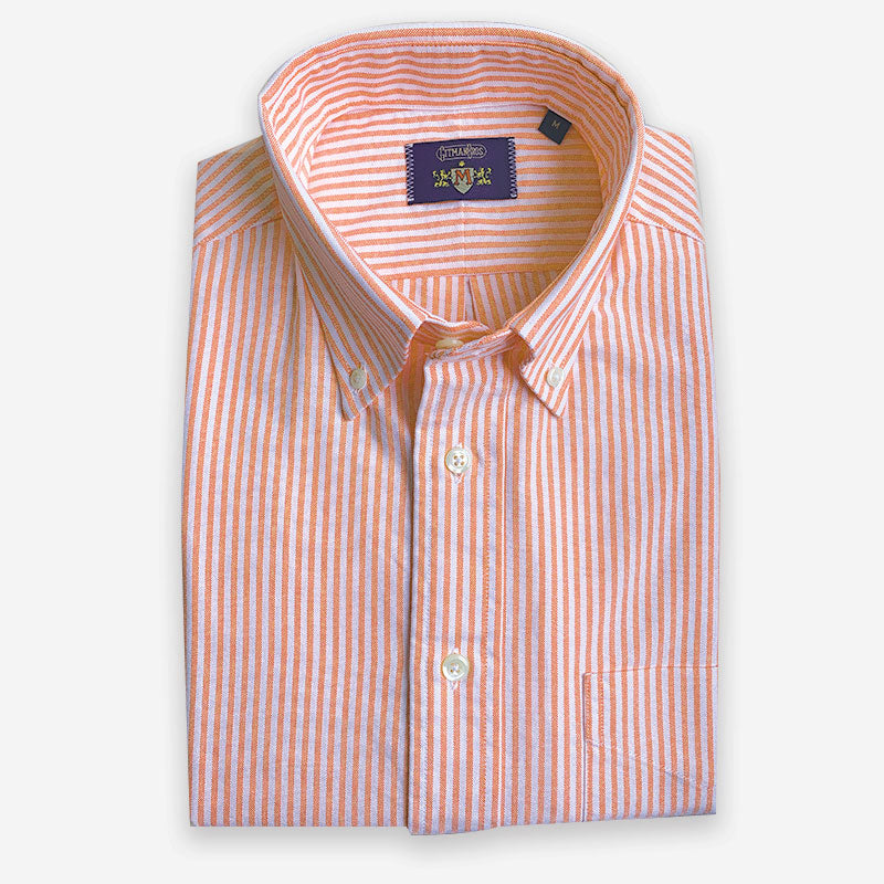 M Crest by Gitman Bros Stripe Button Down Oxford Orange