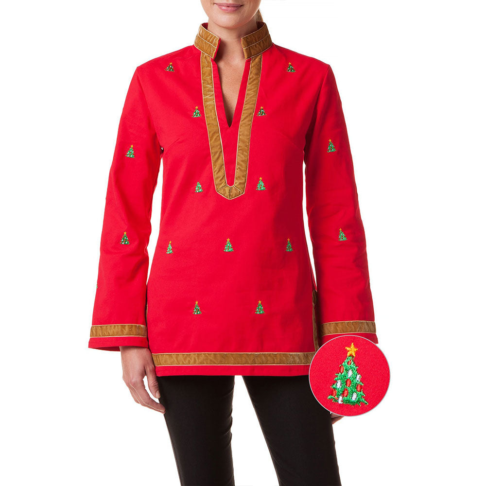 Castaway Tunic Top Bright Red with Christmas Tree