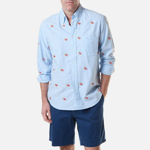 Castaway Chase Shirt - Blue Oxford With USA Flag