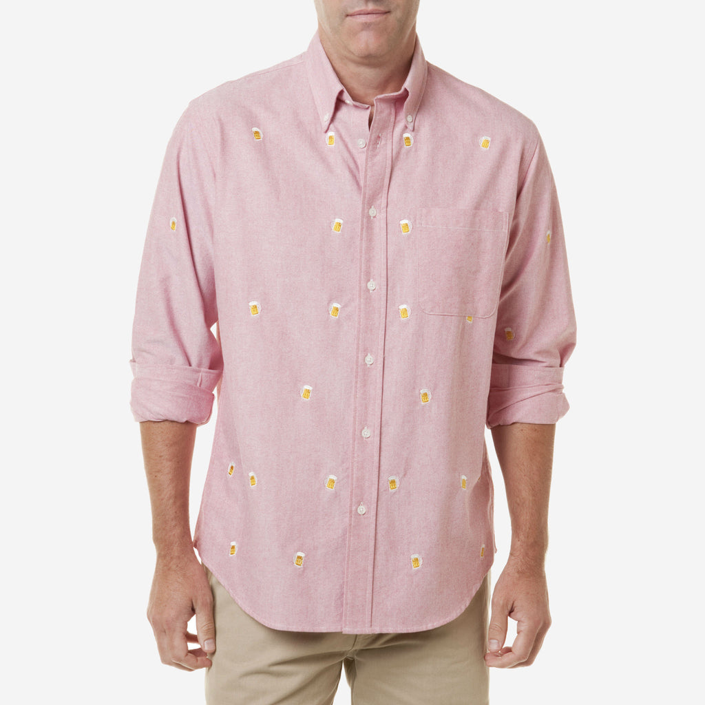 Castaway Chase Long Sleeve Oxford Shirt - Red with Beer Mug