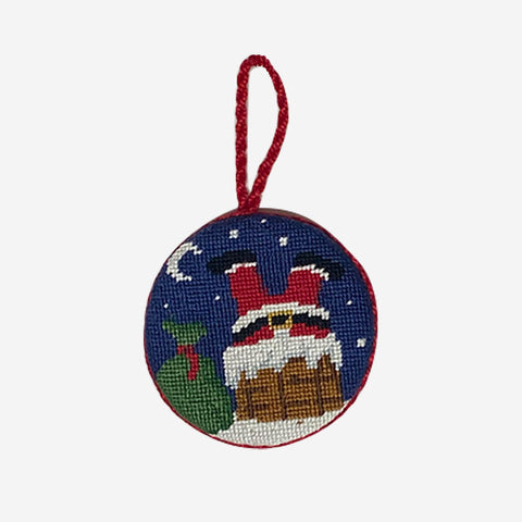 Smathers & Branson Santa in Chimney Needlepoint Ornament