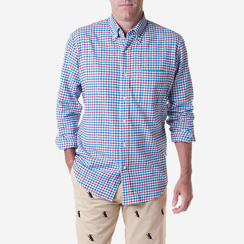 Castaway Chase Shirt - Union Tricheck Flannel Royal