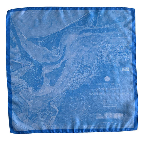 Seth B Minkin Nantucket Harbor Pocket Square - Boat Basin Blue