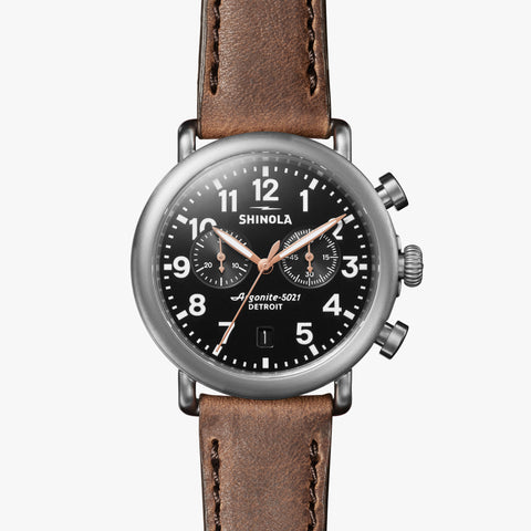 Shinola The Runwell Chrono 41mm Black Watch British Tan Leather Strap