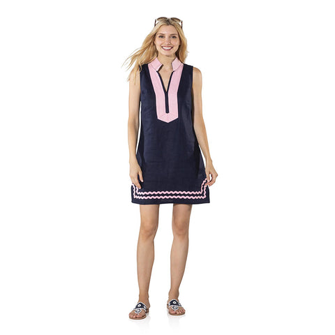 Sail to Sable Sleeveless Tunic With Ric Rac Navy