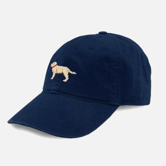 Smathers & Branson Yellow Lab Needlepoint Hat - Navy