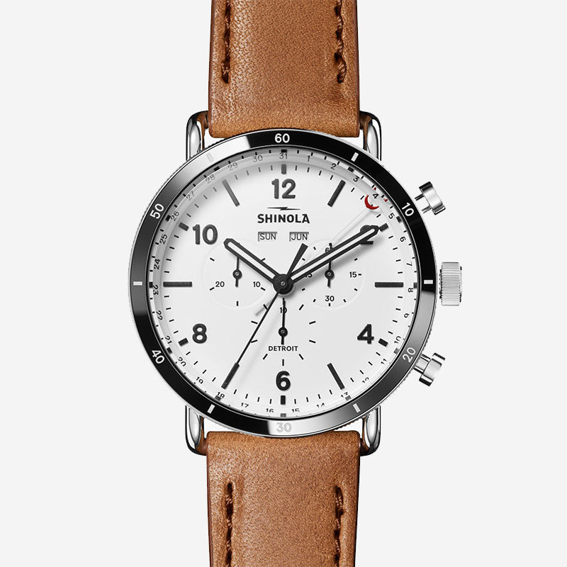 Shinola The Canfield Sport 45mm Men's White Watch Bourbon Lather Strap