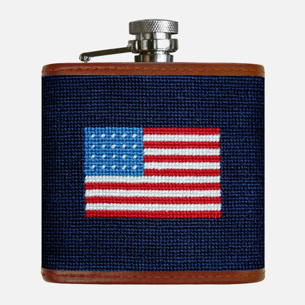 Smathers & Branson American Flag Needlepoint Flask