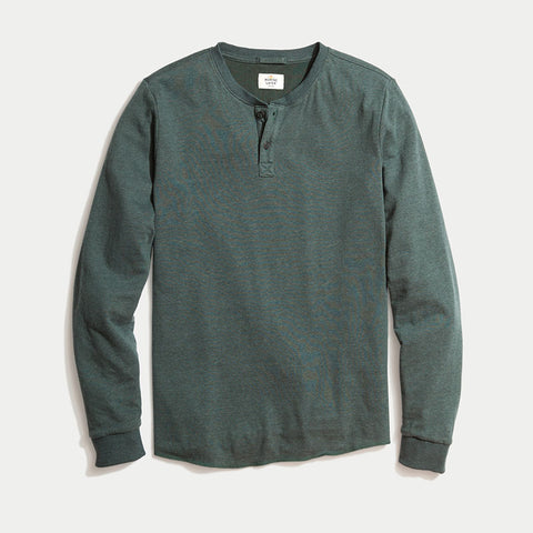 Marine Layer Double Knit Solid Henley Green Gables
