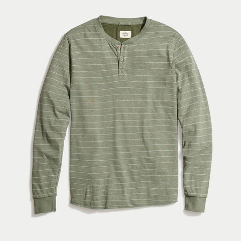 Marine Layer Double Knit Solid Henley Thyme White