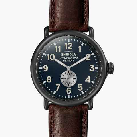 Shinola The Runwell Sub Second 47mm Midnight Blue Watch Cattail Grizzly Leather Strap