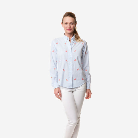 Castaway Ladies Button Down Shirt - Blue Seersucker with Lobster