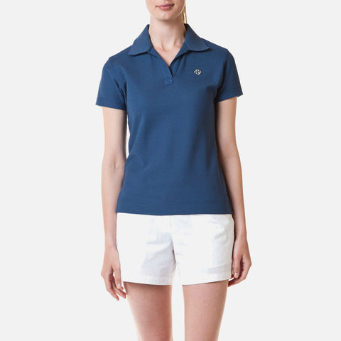 Castaway Ladies Islander V-Neck Polo - Nantucket Navy