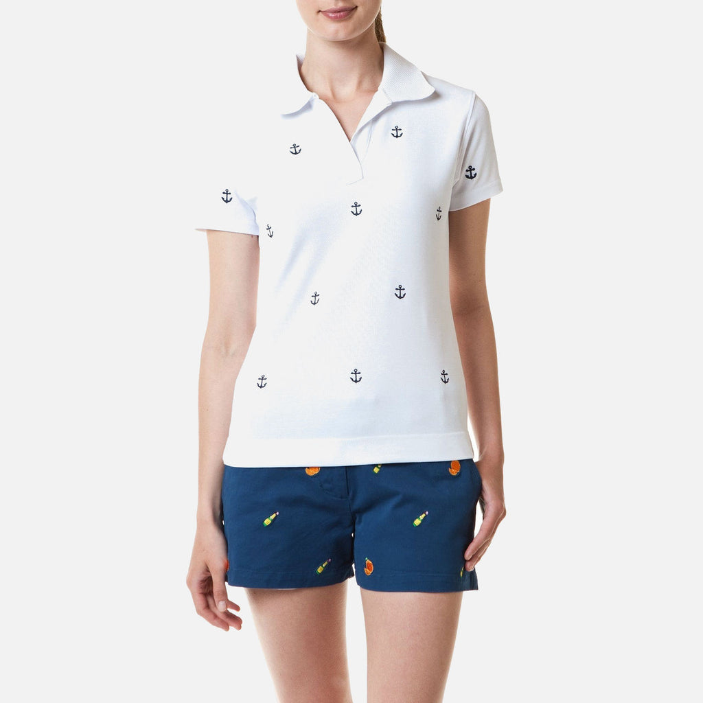 Castaway Islander V-Neck Polo - White With Navy Anchors