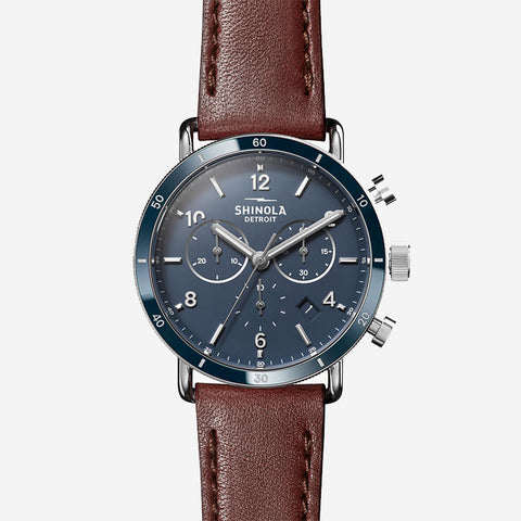 Shinola The Canfield Sport Chronograph 40mm Men's Midnight Blue Watch Dark Cognac Leather Strap