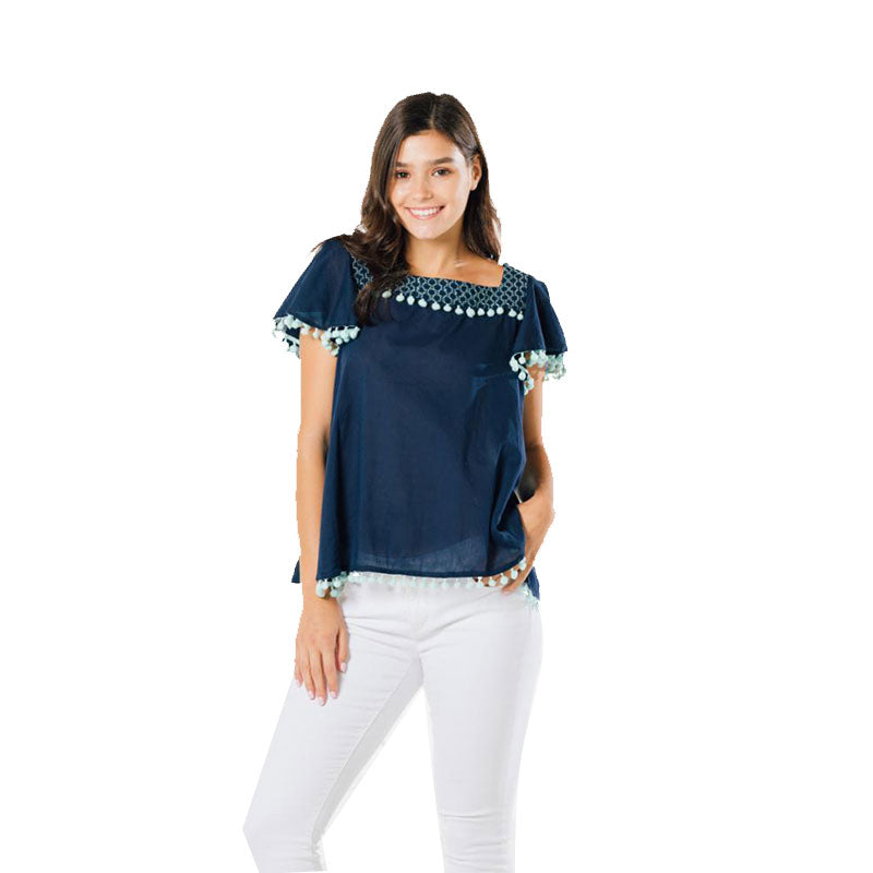 Sail to Sable Pom Pom Top Navy