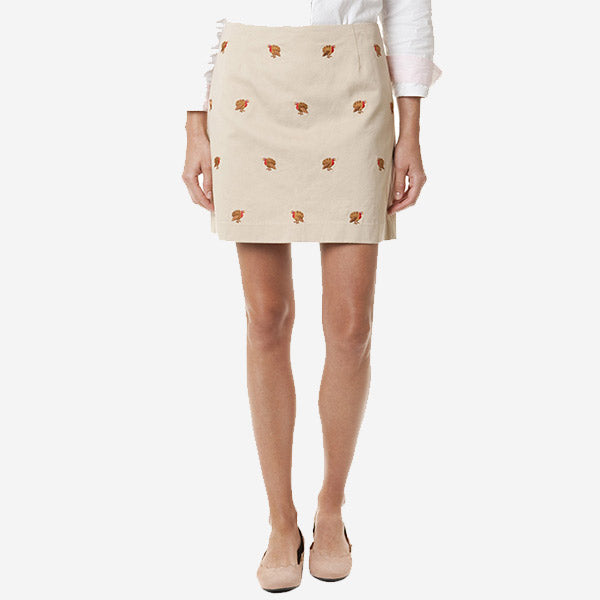 Castaway Ali Twill Skirt - Tan With Turkey 17""