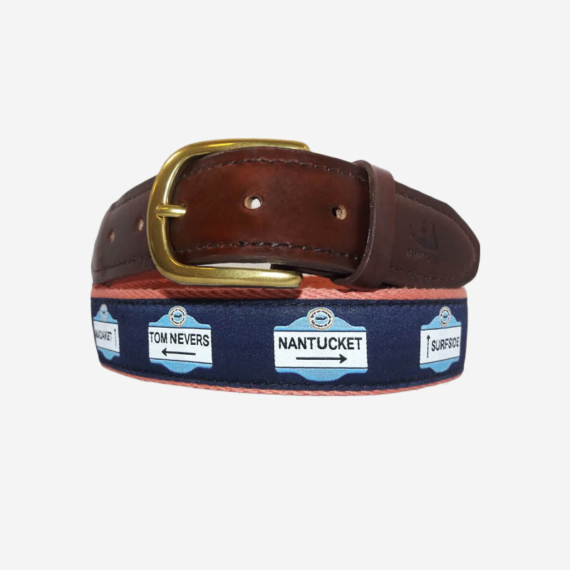 YRI Men's Ribbon Belt - Nantucket Signs on Red Webbing