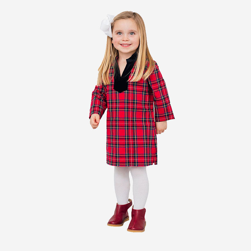 Sail to Sable Kids Plaid Tunic Dress Red