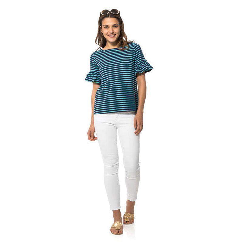 Sail to Sable Ponte Ruffle Short Sleeve Top - Navy/Ocean