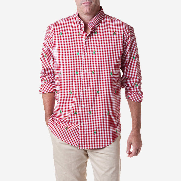Castaway Straight Wharf Shirt - Red Gingham with Christmas Tree