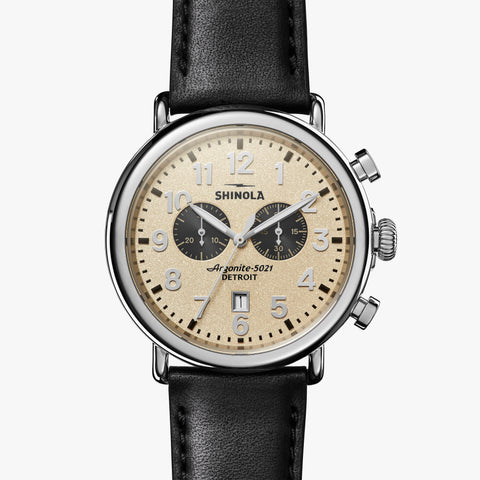 Shinola The Runwell Chrono 47mm Cream Watch Black Leather Strap